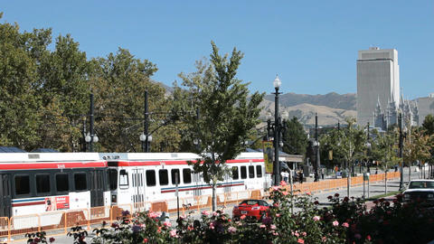 Salt Lake City Trax trains P HD 2460 Footage