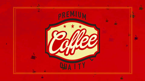 fancy quality coffee mark on red velvety background manipulation classical handwriting for cafe or Animation