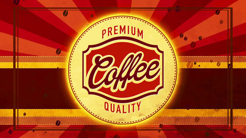 natural daybreak coffee tavern brand for coffee or cappuccino beverage with retro typeface and Animation