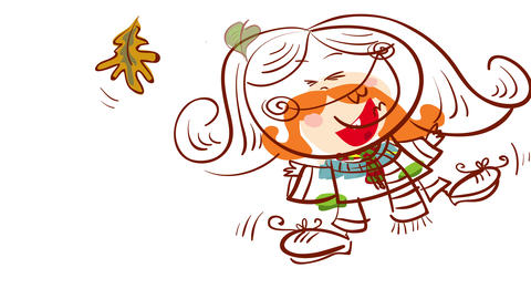 funny girl with big red hair and comfy warm clothes laughing while throwing dry leaves to the air Animation