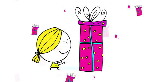girl with joyful expression choosing one birthday present out of many gift boxes appearing and Animation