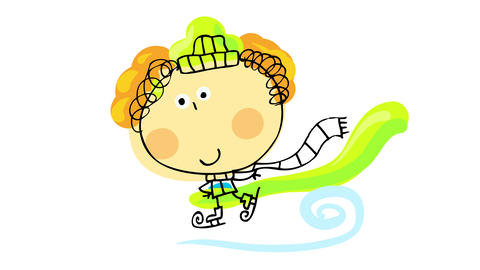 blond curly haired boy wearing comfy winter clothes with long scarf ice skating with style on a Animation