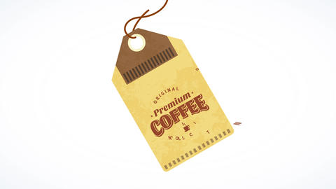 original premium coffee collection cardboard tag breaking from its package for small retail business Animation