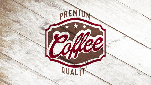 vintage quality coffee art for roasted colombian cafe with grunge emblem over monochromatic wood Animation