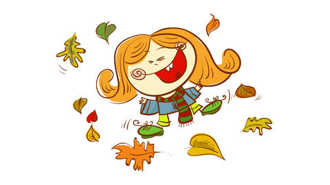 cheerful redhead girl playing outside after school on a beautiful autumn day having the best time of Animation