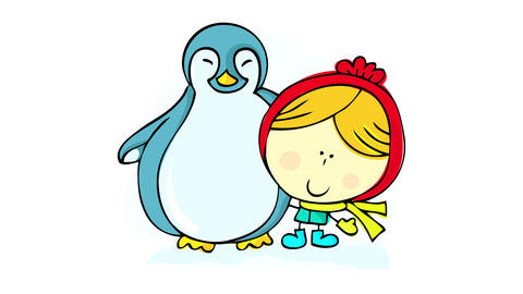 little nordic girl on the north pole hugging a cute fatty penguin like posing for a picture Animation