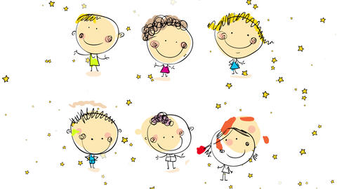 six happy boys and girls hand drawn with cute pink blushed cheeks big smiles and unique outfits and Animation