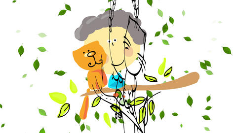 beautiful shot of little boy wearing blue shirt sitting with his happy cat on green thick blossomed Animation