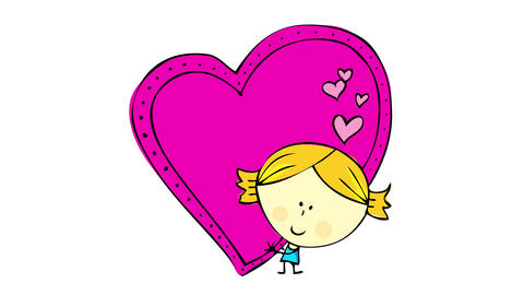 bold haired girl hugging a huge pink heart with small hearts decorating it on valentines day Animation
