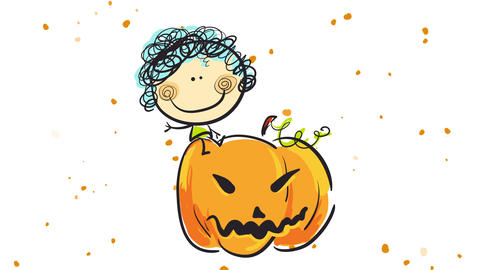 halloween world with orange pumpkins with traditional scary faces floating on background behind girl Animation