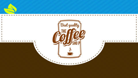 package cover mind for excellent value moment coffee with classical seal and green leafs Animation