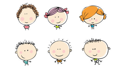 group of boys and girls standing in lines parallel to each other all with different outfits hair Animation