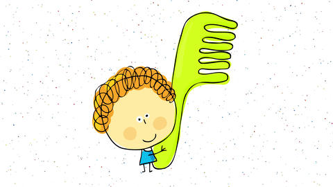 number one hairdresser in town holding her comb trophy after a tight competition with small confetti Animation