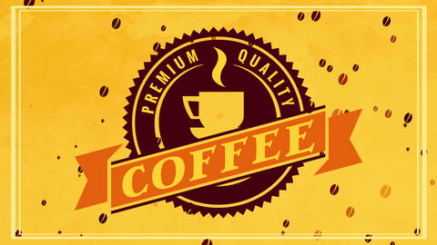 classic glowing beverage coffee sign with 50s fancy round symbol and old-fashioned writing over gold Animation