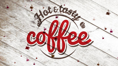 coffee shop drink service store signpost selling delicious grinded coffee powder with antique letter Animation