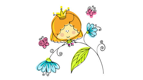 little queen of the flowers playing with a blossomy branch of blue big flowers wearing a golden Animation