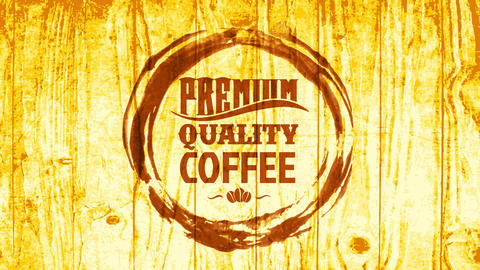 morning coffee shop board offering hot beverages with great flavor designed with cup stain on wooden Animation