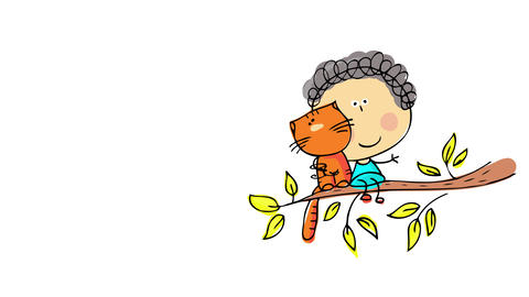 cute portrait of a little curly haired boy sitting on branch with his fluffy red cat smiling Animation