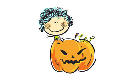 joyful girl playing and sitting on an orange halloween pumpkin with a scary face sculpted to Animation