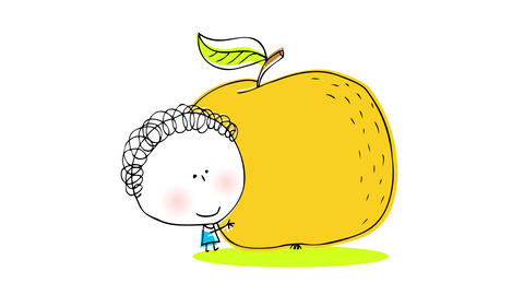 strong little boy easily lifting a yellow round fruit bigger than him like an orange or a tangerine Animation