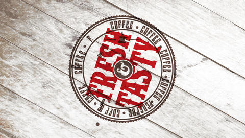 wild west style coffee art for fresh tasty product with typography on circled graphic over wood Animation