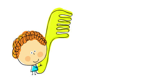 smiley curly redhead girl showing off her hairstyle lifting a big green hair comb proving she is Animation