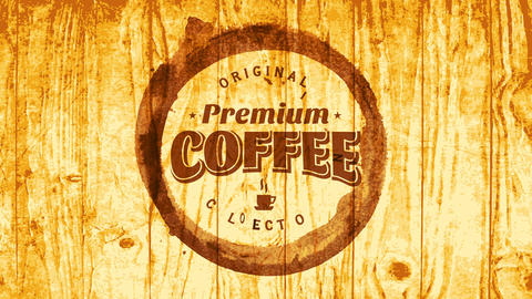 creative cafe trademark marketing premium coffee collection with text inside cup stain on wooden Animation