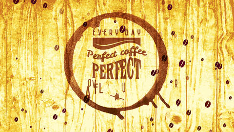 wet mug coffee spot smeared on wooden texture scene for cafe bar famous for espresso drinks Animation