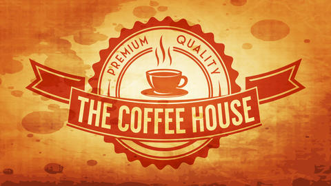 the coffee house hot beverages cafe wavy edge icon with ribbon over it with retro grunge elements Animation