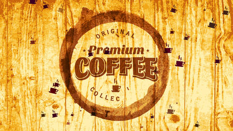 original cafe mark purchase fancy coffee stack with script inside mug grunge on wooden texture scene Animation