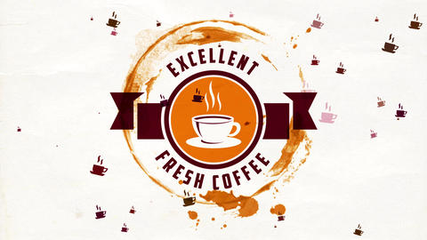 hot coffee teacup detailed indoor round symbol with medal for excellent fresh product sold on cafe Animation