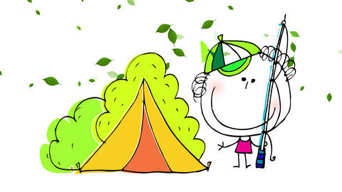 boy with big smile waving to the camera while holding a fishing rod with a tent behind him on a Animation