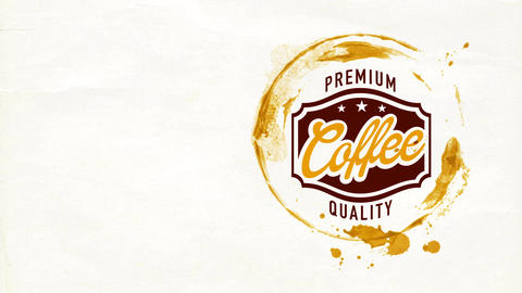retro trademark thinking for famous coffee drink with gourmet cappuccino taste with wet mug stain on Animation