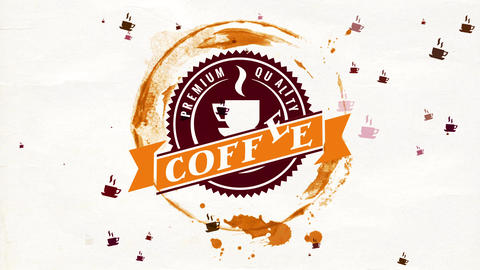 unique vital coffee brand with wet mug spot and antique icon on ragged cardboard texture Animation