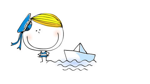happy little boy with golden blond hair and blue sailor uniform and hat playing with a paper boat on Animation