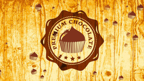 premium chocolate cake symbol with brown melted colour on light wooden texture space giving Animation