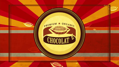 soft fancy vital black food insignia with cocoa pod detailed on aged background for healthy product Animation
