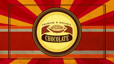 sweet premium organic black chocolate emblem with cocoa pod graphic on vintage background for Animation