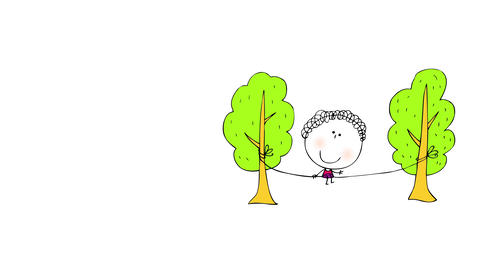 green trees composing a small scene on right side of screen with rope tied to each tree with girl Animation