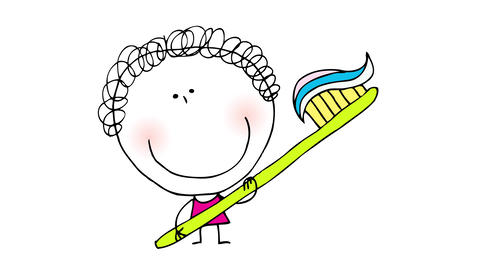 little curly haired girl holding a big toothbrush with toothpaste to promote oral health to grow up Animation