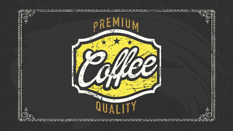 cafe shop selling select quality products like coffee and tea with vintage emblem and typography Animation
