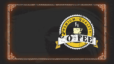 coffee value certification mark with aged texture seal on black blackboard for nourishment industry Animation