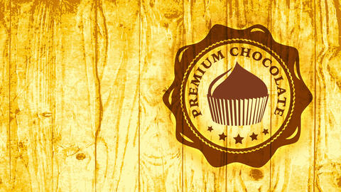 fancy cocoa cupcake symbol with brown melted color on lighting wooden texture space giving engraving Animation