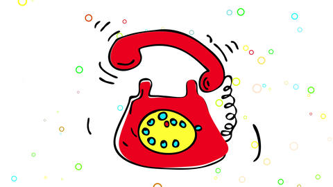 70s style red telephone appearing in parts in the center on a background with small circles of Animation