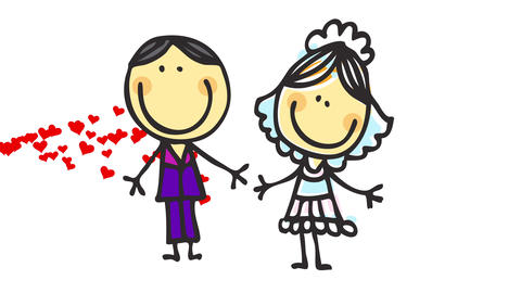 doodle of married couple with cute rounded pink cheeks holding big smile over background with red Animation