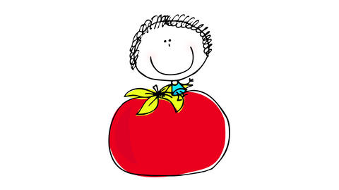 big red shiny tomato falling from the sky and a little boy appearing bouncing waving to the camera Animation