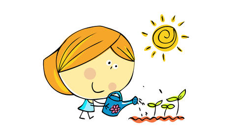 happy young woman taking care of her plants watering them while they grow healthy under a bright sun Animation