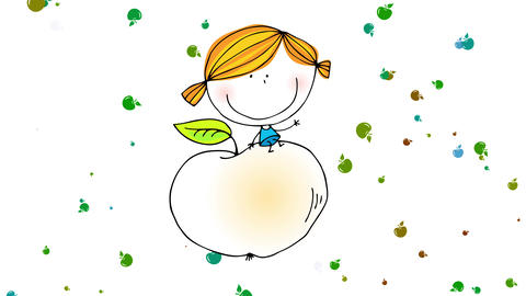 happy young girl flying on a round peach bigger than her waving to the camera and smiling with small Animation