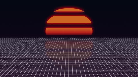 Futuristic neon landscape of the 80 s. Computer generated futuristic sun in Animation