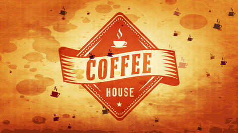 artistic dawn coffee time rhomboid badge for coffee shop with retro part on dirty cardboard texture Animation